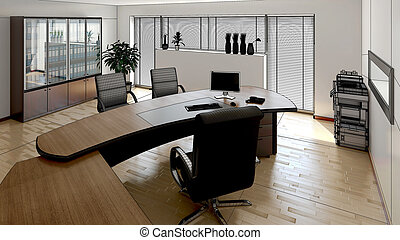 3D interior rendering of a modern office