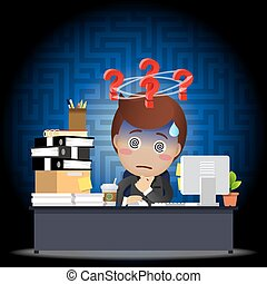 Confused businessman working on computer at desk - Confused...
