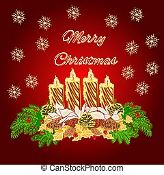Merry Christmas Advent wreath gold candle with white...