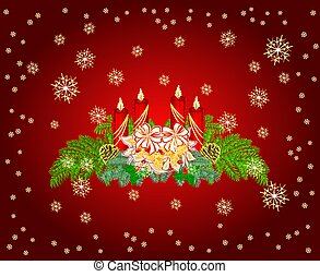 Advent wreath with white poinsettia vector.eps - Advent...