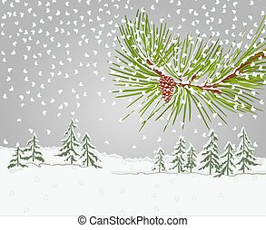 Winter pine branch with snow and pine cone christmas...
