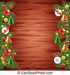 Christmas tree branches on wood