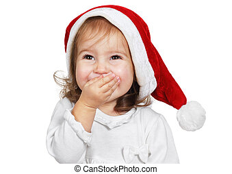 Funny child laugh dressed santa hat, isolated on white -...