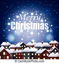 Merry Christmas on night snowy town background