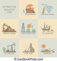 Extractive industry icons - Extractive industry. Set icons