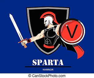 Sparta warrior - colorful vector illustration of Spartan /...