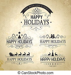 Happy Holiday decoration Set of calligraphic vintage labels,...