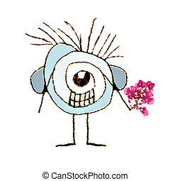 aislado, lindo, caricatura, con, flores, en, ella, mano,