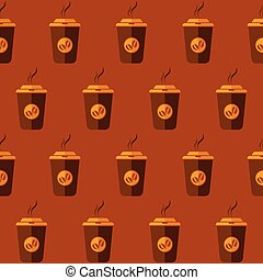 Coffee to go vector seamless pattern