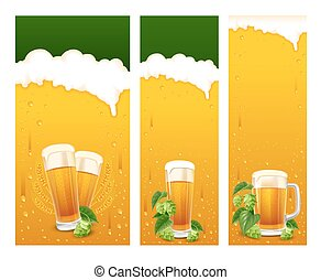 Beer banners - Beer glasses and fresh hops on banners set....