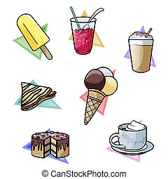Sweet temptations - Computer-made illustration: set of seven...