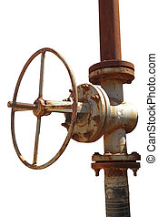 Rusted valve - old metal pipe with valve