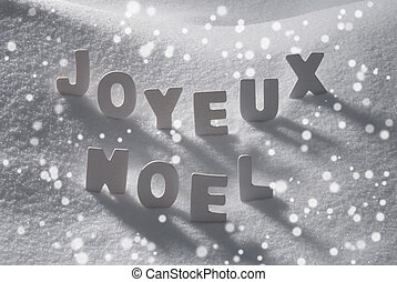 White Word Joyeux Noel Means Merry Christmas On Snow,...