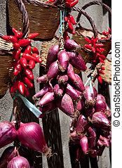 Group of good red onions of Tropea and chilli