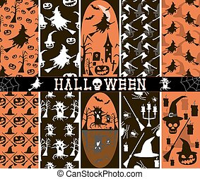 10 seamless spooky Halloween patterns - Set of 10 seamless...