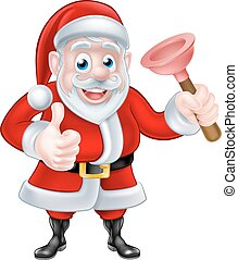 Cartoon Santa Giving Thumbs Up and Holding Plunger -...
