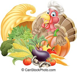 Turkey in Chef Hat and Cornucopia - Thanksgiving cartoon...