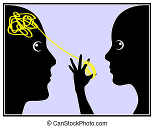 Woman manipulates Man - Humorous concept sign of the...