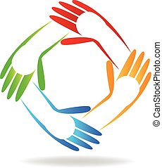 crianças, mãos, logotipo,