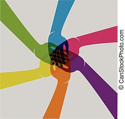 Teamwork hands logo - Teamwork hands people union vector