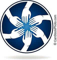mãos, vetorial, reunião, pessoas
