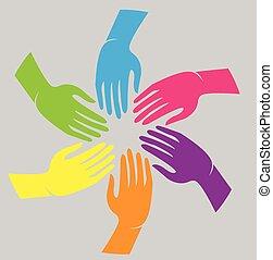 Trabalho equipe, mãos, pessoas, união, logotipo,