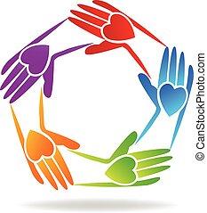 Trabalho equipe, mãos, pessoas, logotipo,