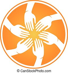 logotipo, mãos, reunião, pessoas