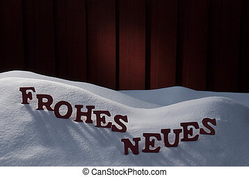 Frohes Neues Means Happy New Year On Snow