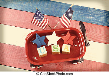 USA Wagon - A childs toy wagon with red white and blue stars...
