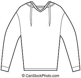 Hooded Pullover Shirt - Hooded pullover shirt isolated on a...