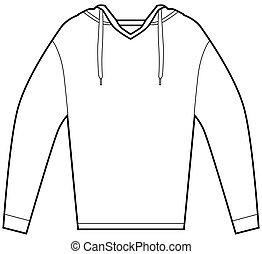 encapuchado, camisa, pulóver