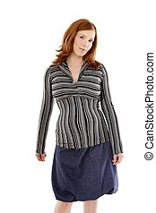 Pregnant woman fashion redhead portrait isolated on white...