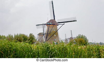 Old traditional windmills of Kinderdijk - Cloudy view at...