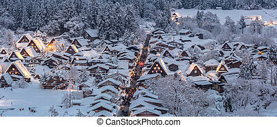Shirakawago light-up Panorama - Shirakawago light-up with...