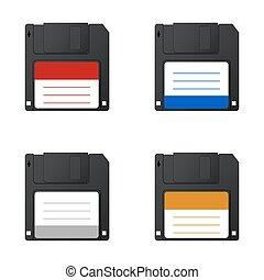Vector modern diskette on white background - Vector modern...