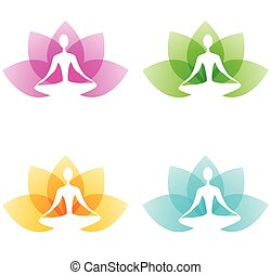 Yoga icons with lotus flower and person on a white...