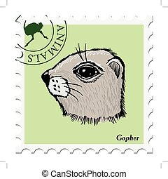 stamp with gopher - vector, post stamp with gopher