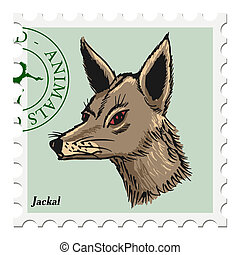 stamp with jackal - vector, post stamp with jackal