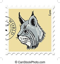 stamp with lynx - vector, post stamp with lynx