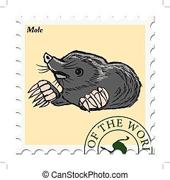 stamp with mole - vector, post stamp with mole