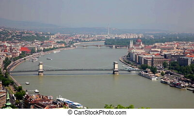 Bridges across Danube river in sunny day, Budapest - Above...