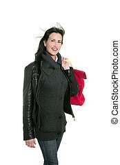 Black leather jacket shopper woman