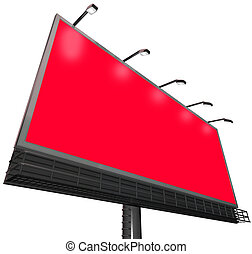 Billboard Outdoor Sign Advertising Communication Red Background Copyspace