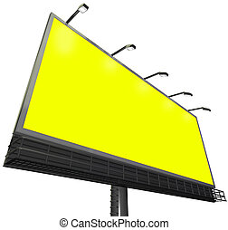 Billboard Outdoor Sign Advertising Communication Yellow Background Copyspace