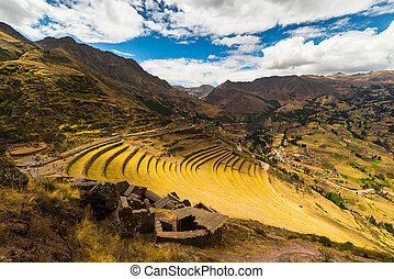 Incas terraces in Pisac, Sacred Valley, Peru - Wide angle...