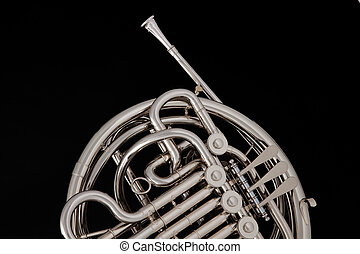 French Horn Silver Isolated on Black