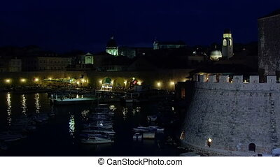 Dubrovnik old city by night - Dubrovnik old town harbor bay...