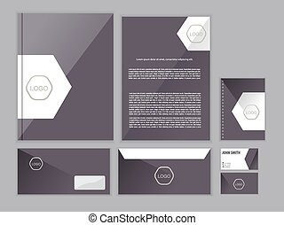 Purple classic corporate identity design template. Vector business stationery.