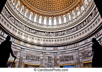 US Capitol Dome Rotunda Statues DC - Rotunda, US Capitol...
